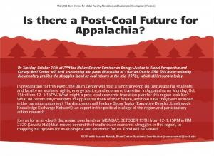 """Is there a Post-Coal Future for Appalachia?"" – October 15, 2018"